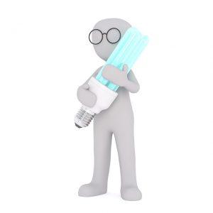 Omino bianco con lampadina a LED